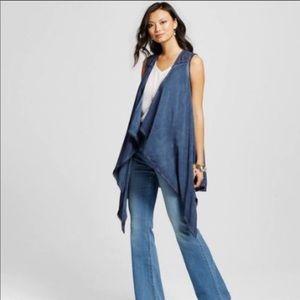 Knox Rose Challis Vest Blue-Oil Wash w/Lace Trim
